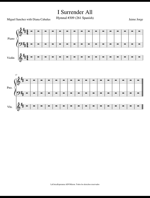 I Surrender All sheet music for Piano, Violin download free