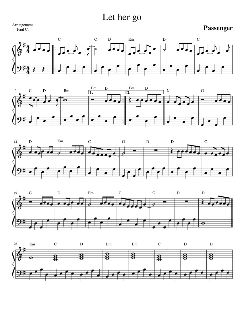 image relating to Let It Be Piano Sheet Music Free Printable named Allow Her Transfer Penger sheet tunes for Piano down load free of charge within just