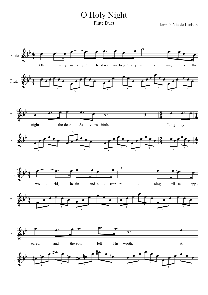 image about Printable Flute Sheet Music known as O Holy Evening sheet songs for Flute down load cost-free in just PDF or MIDI