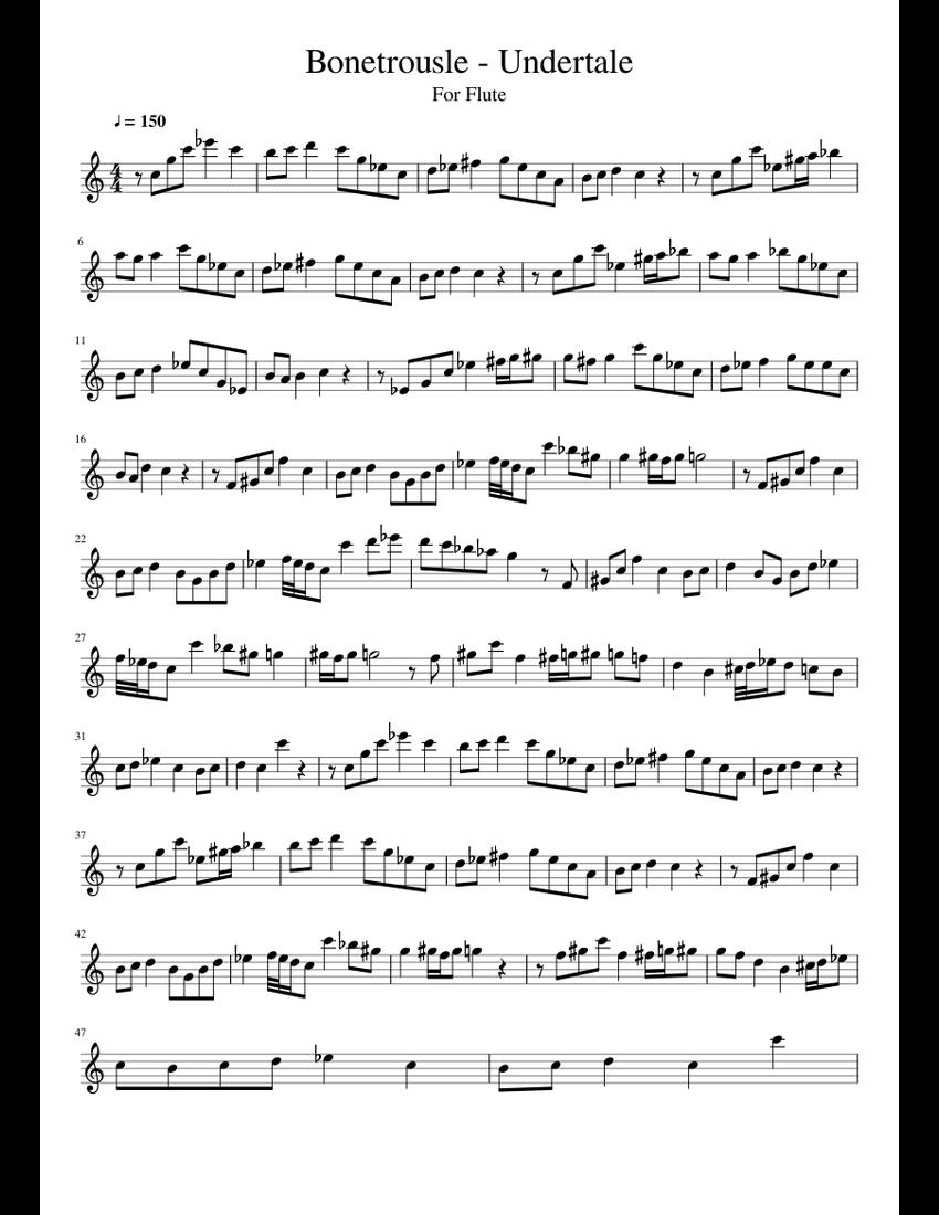 Bonetrousle - Undertale sheet music for Flute download free