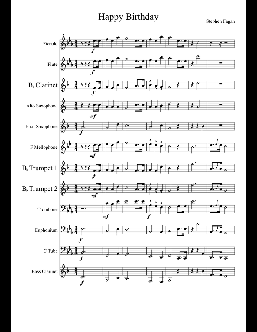 Happy Birthday Marching Band Arrangement Sheet Music For