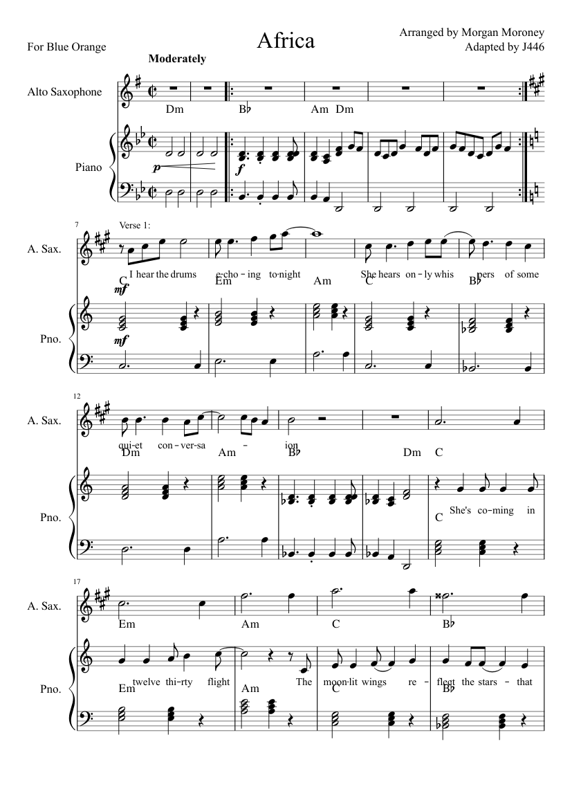 picture regarding Free Printable Alto Saxophone Sheet Music titled Africa (Piano and Alto Sax) sheet tunes for Piano, Alto