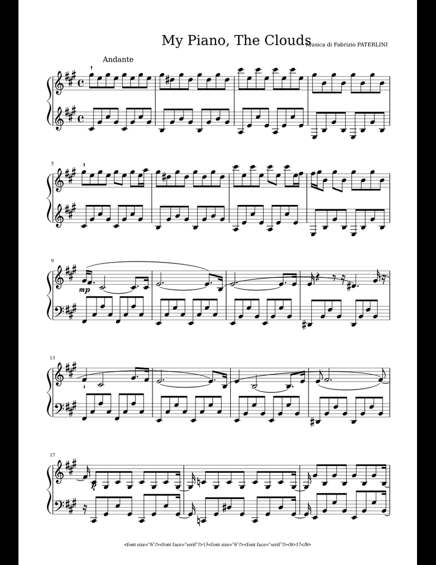 My Piano The Clouds Fabrizio Paterlini Sheet Music For