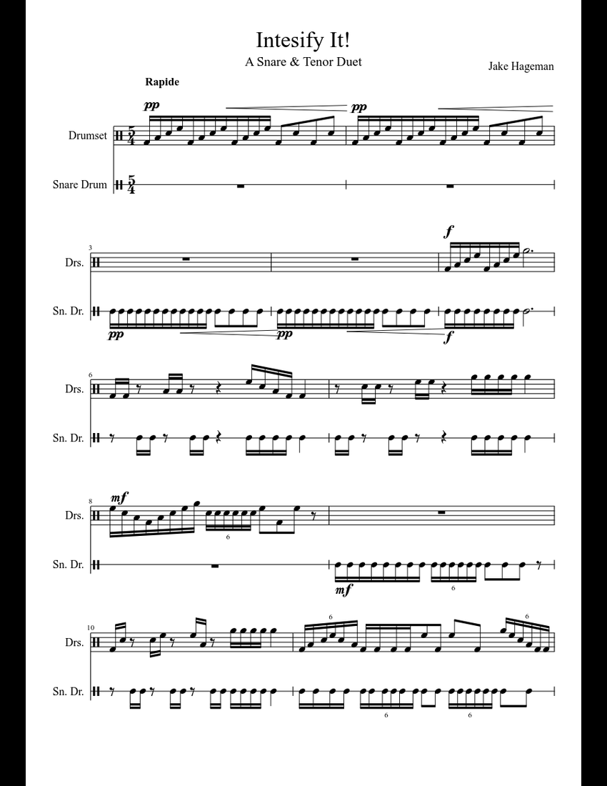 intensify it tenor drum snare drum duet sheet music for percussion download free in pdf or midi. Black Bedroom Furniture Sets. Home Design Ideas