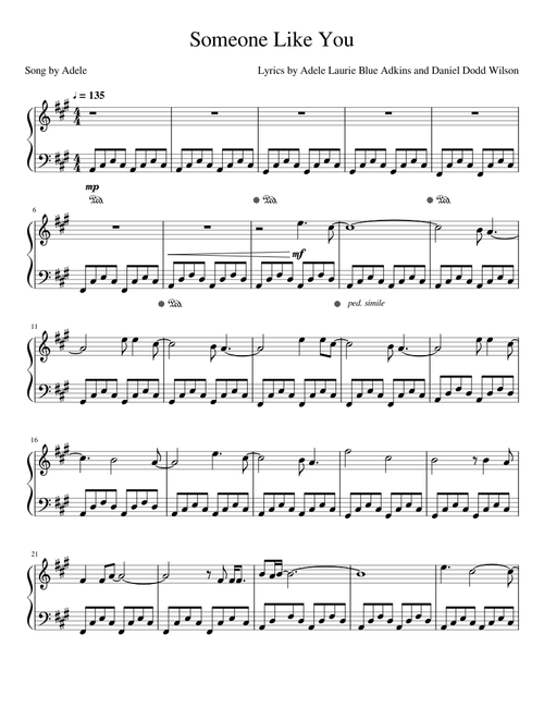 Someone Like You Sheet Music Free Download In Pdf Or Midi On Musescore Com