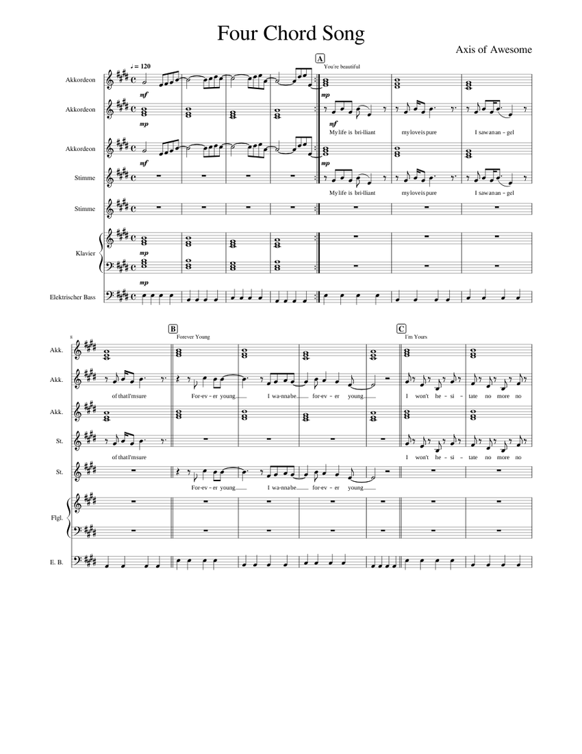 Four Chord Song Sheet music for Piano, Vocals, Bass, Accordion (Mixed Ensemble)   Musescore.com