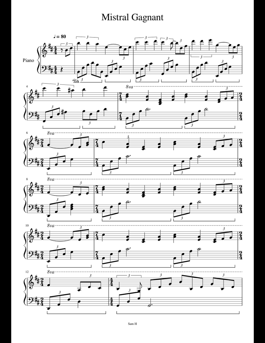 Mistral Gagnant ( Good Version ) Renaud sheet music for