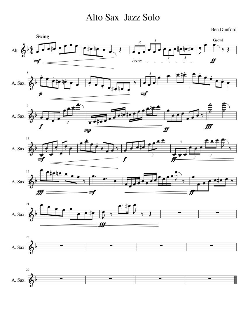 alto sax jazz sheet music free