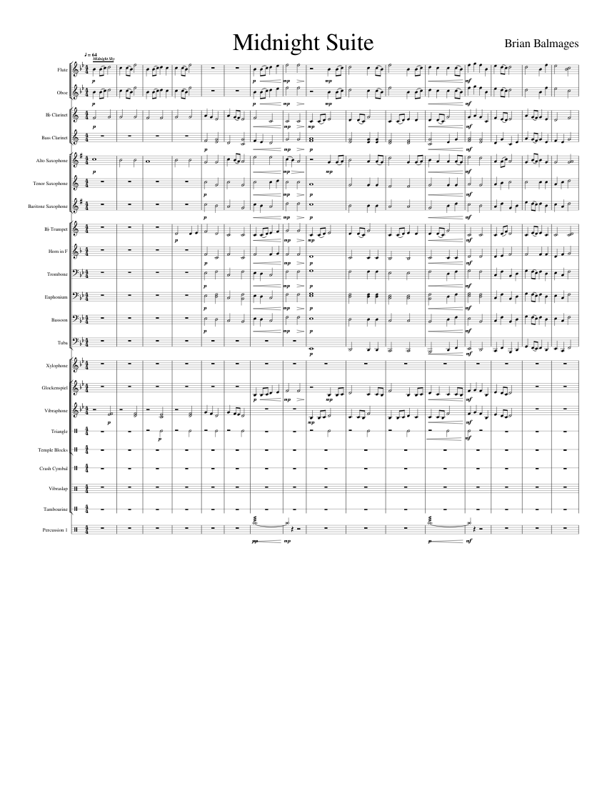 Midnight Suite sheet music for Flute, Clarinet, Oboe, Alto