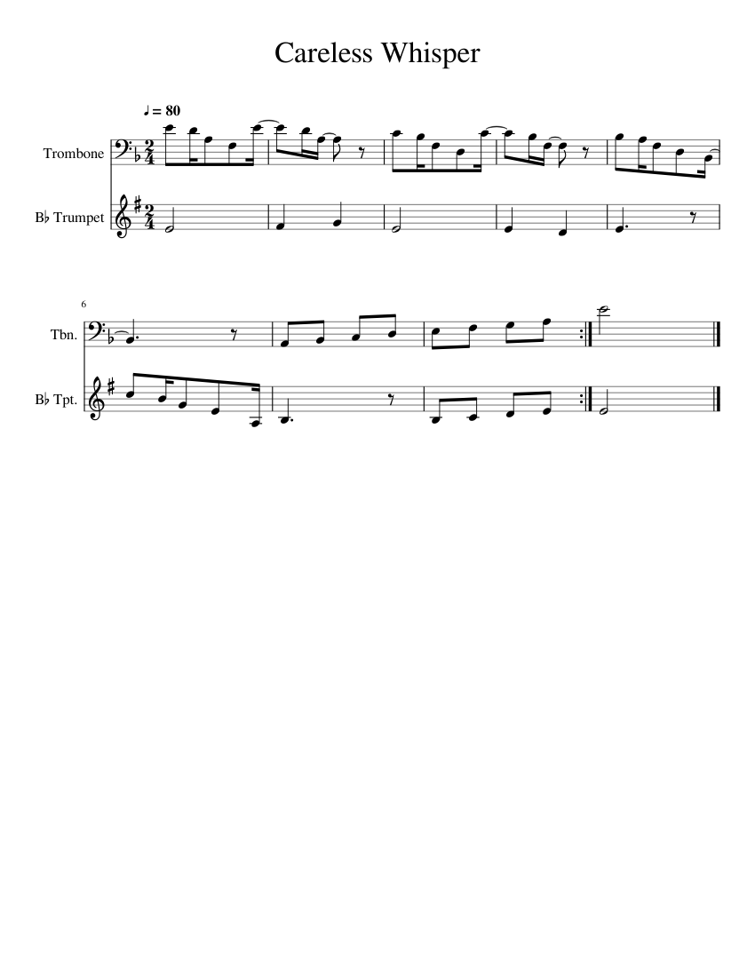 Careless Whisper Sheet music for Trombone, Trumpet ...