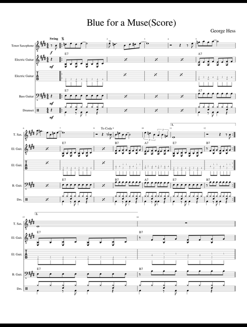 Blues for a MuseScore Video 11 sheet music for Tenor