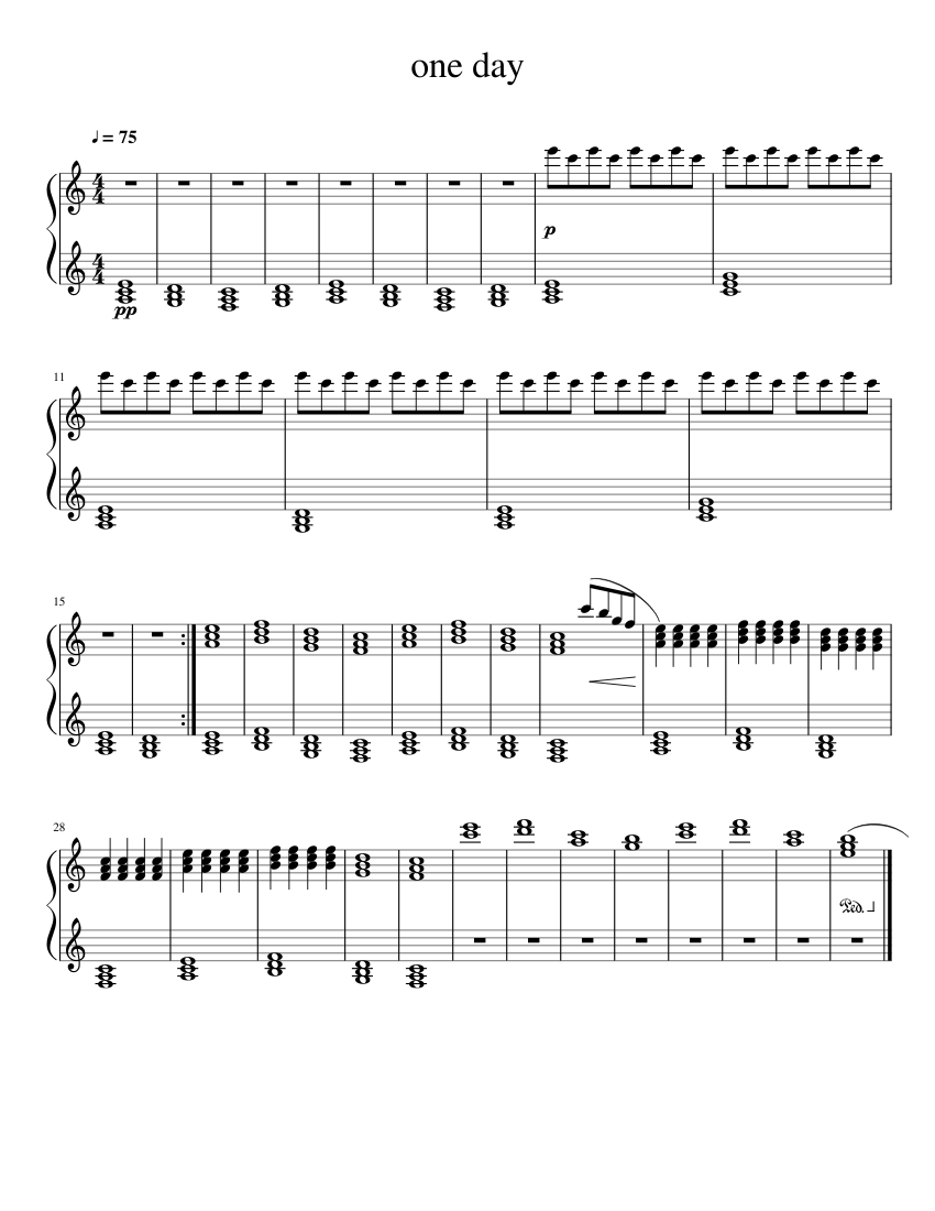 one day sheet music for Piano download free in PDF or MIDI