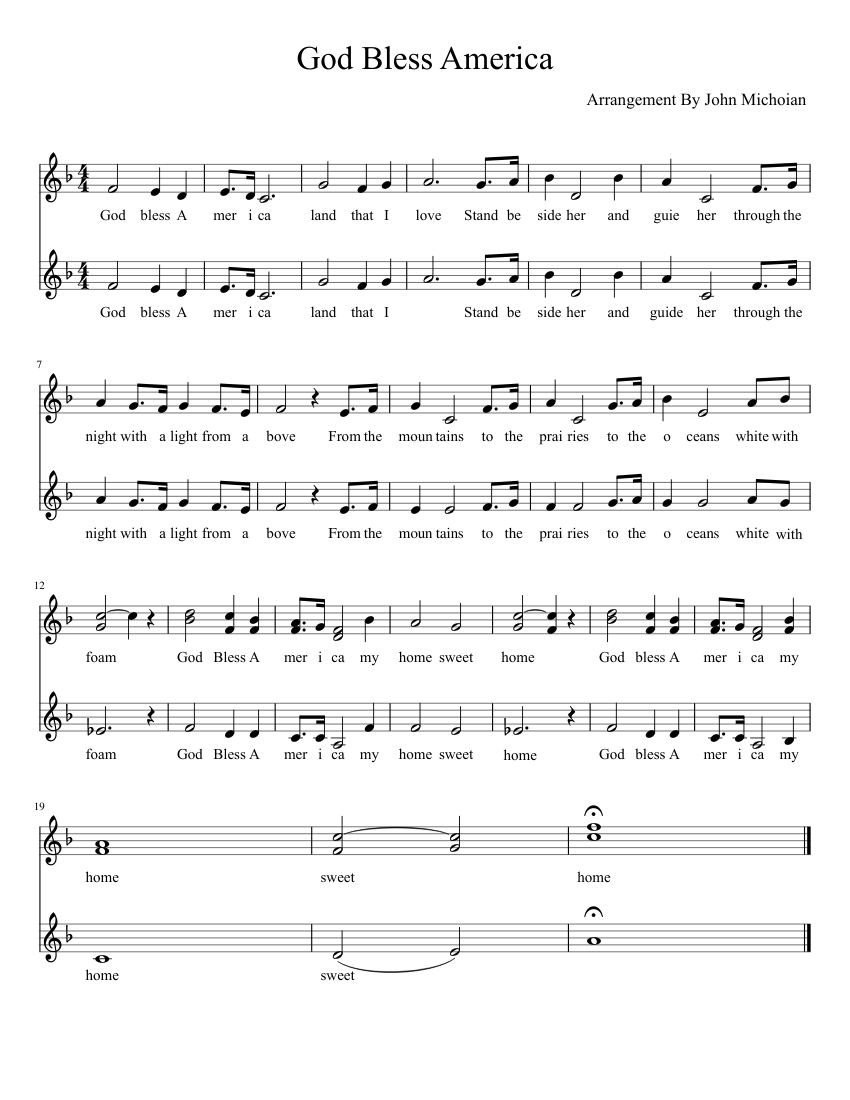 graphic regarding Free Printable God Bless America Sheet Music known as God Bless The usa - SSA sheet new music for Voice obtain absolutely free