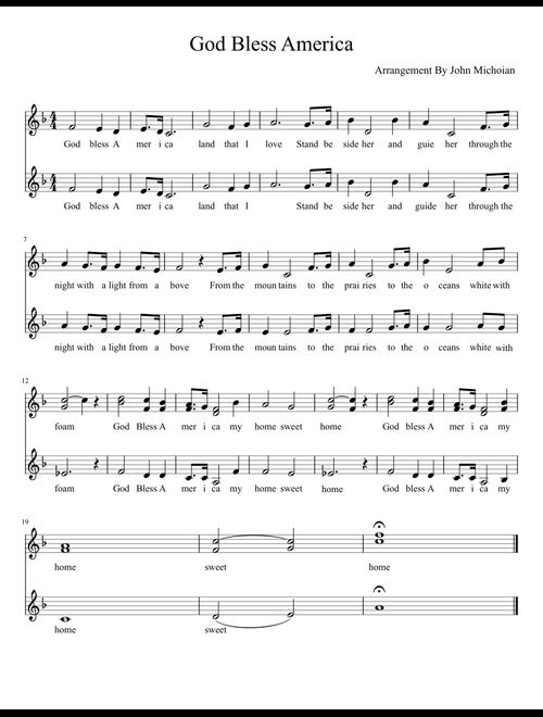 photo regarding Free Printable God Bless America Sheet Music called God Bless The us - SSA sheet tunes for Voice obtain no cost