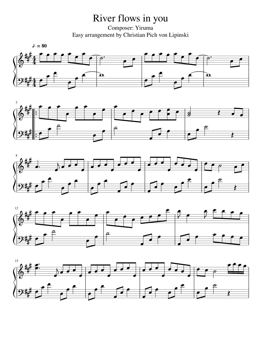 River flows in you (easy arrangement) sheet music for Piano