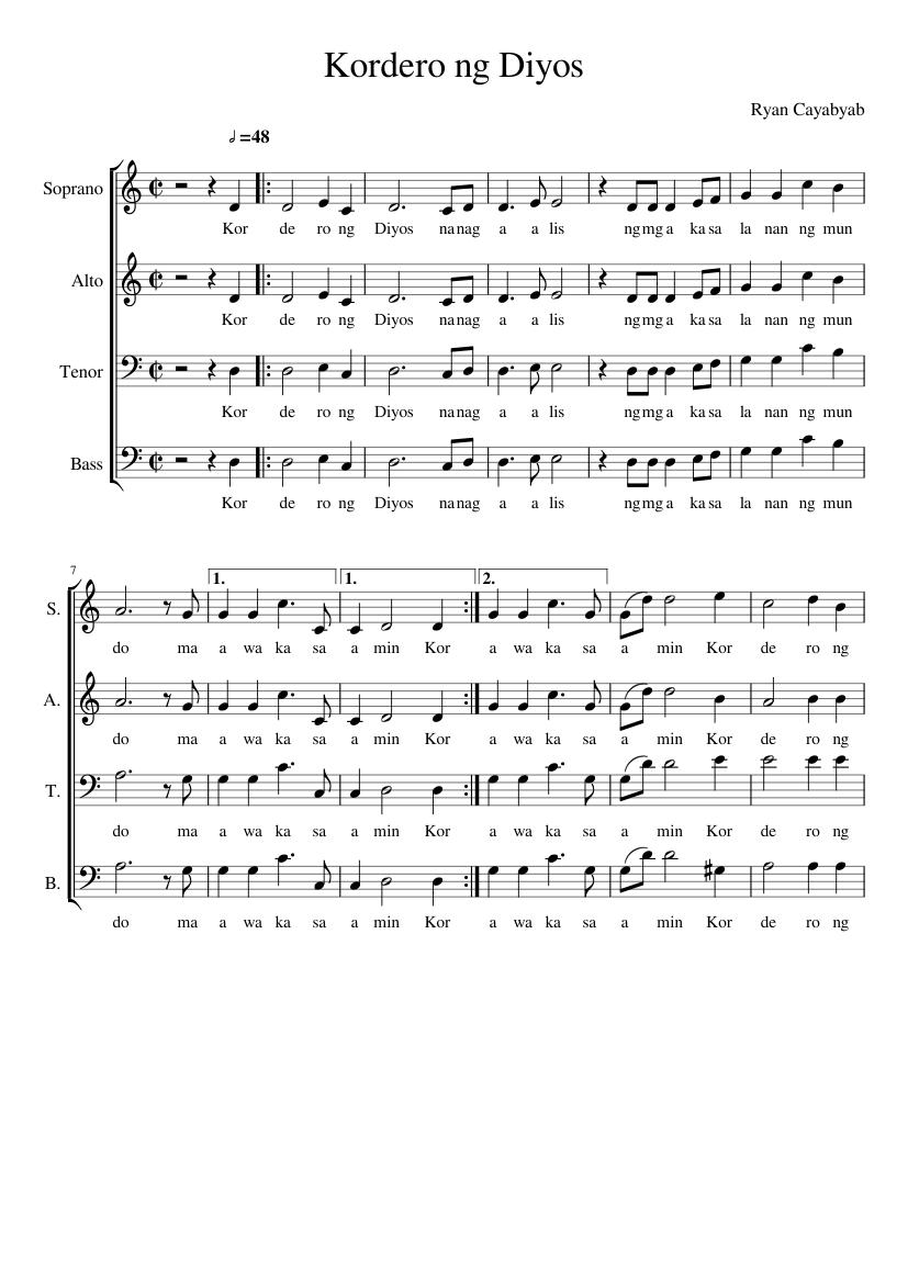 kordero ng diyos sheet music