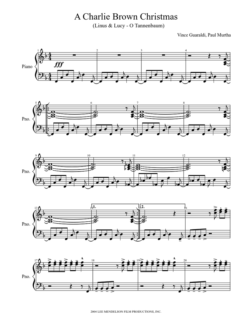 A Charlie Brown Christmas Sheet music for Piano   Download free in PDF or MIDI   Musescore.com