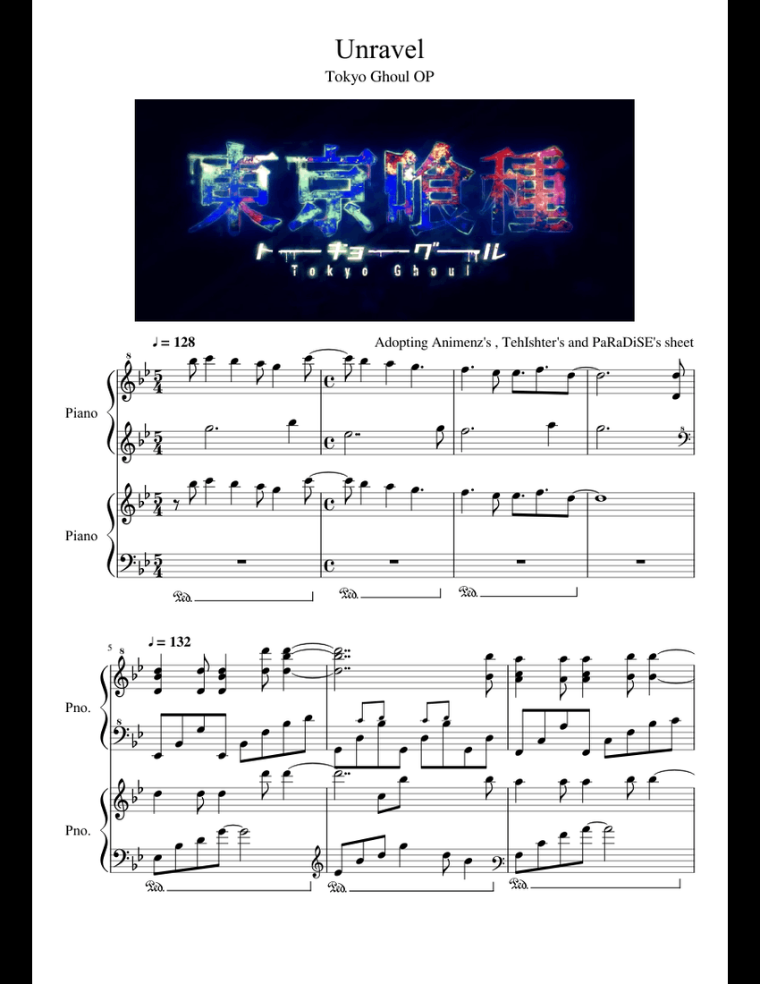 Tokyo Ghoul Op Unravel Adopting Animenz S Tehishter S And - tokyo ghoul op unravel adopting animenz s tehishter s and paradise s unravel sheet sheet music for piano download free in pdf or midi