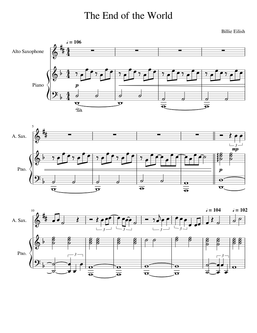The End of the World Alto Sax sheet music for Piano, Alto Saxophone download free in PDF or MIDI