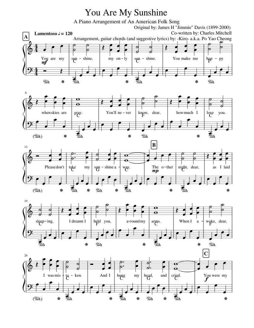 You Are My Sunshine Sheet Music For Piano Solo Musescore Com