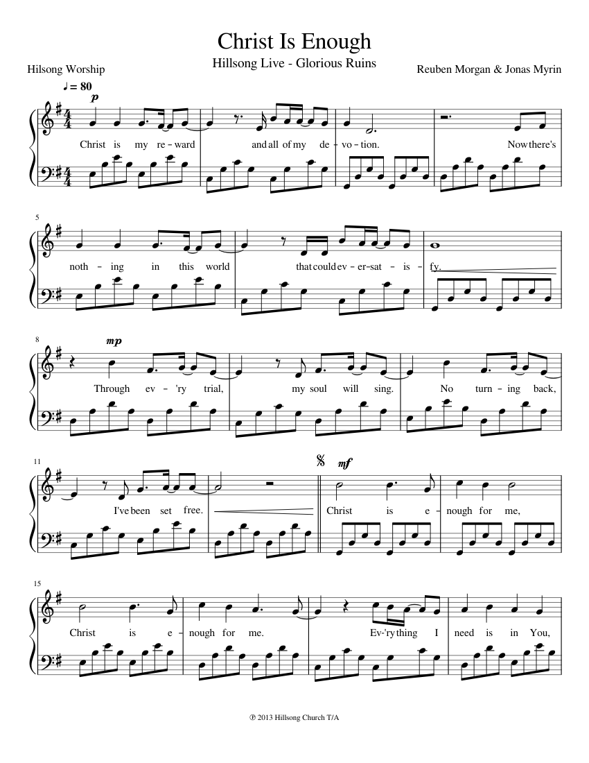 Hillsong - Christ Is Enough sheet music for Piano download
