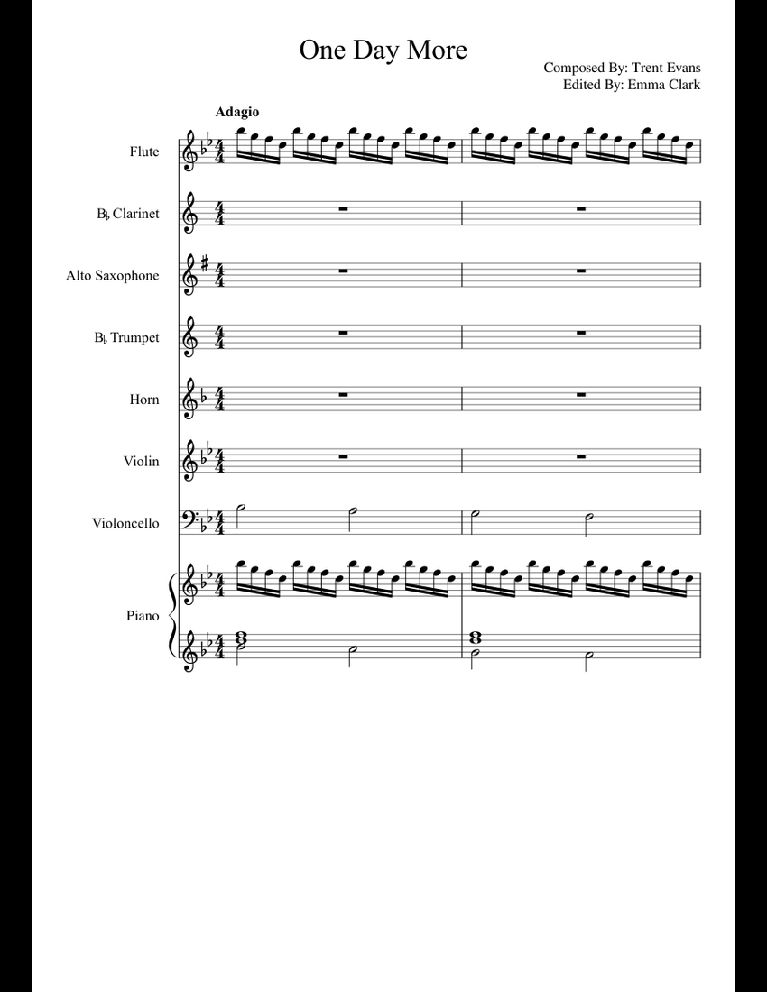 One Day More sheet music for Flute, Clarinet, Violin