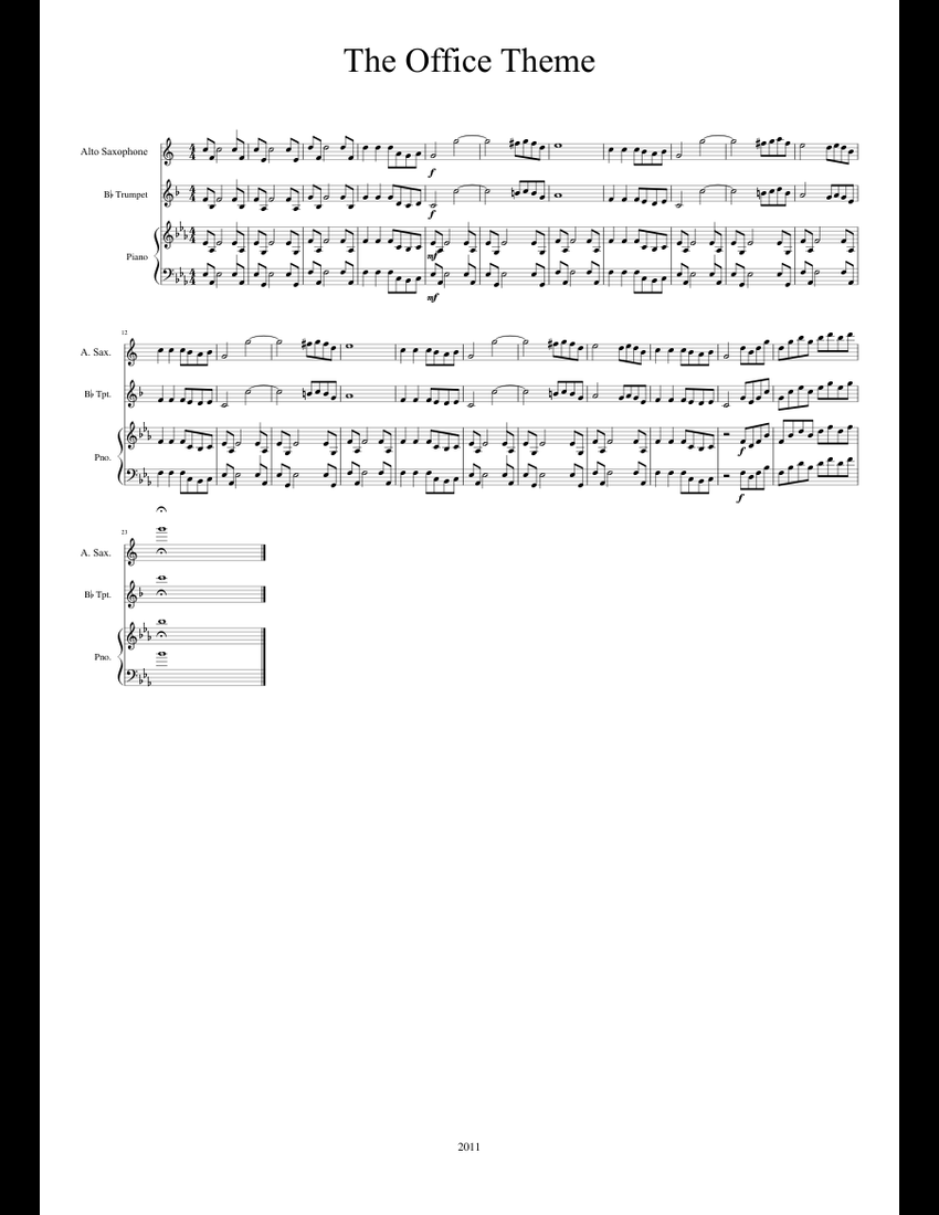 The Office Theme sheet music for Piano, Alto Saxophone