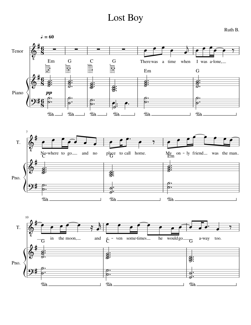 photograph about Lost Boy Piano Sheet Music Free Printable named Dropped Boy sheet new music for Piano, Voice obtain totally free within PDF