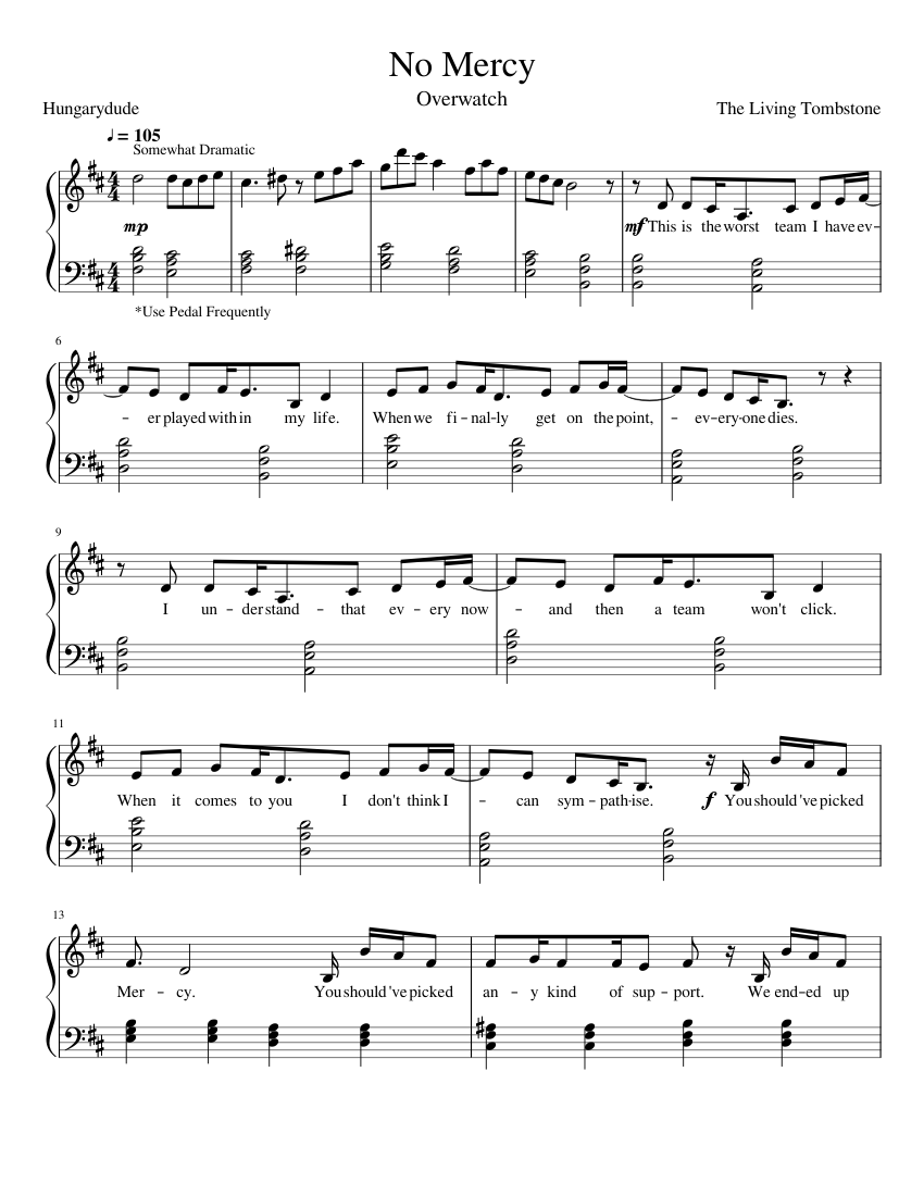 No Mercy sheet music for Piano download free in PDF or MIDI