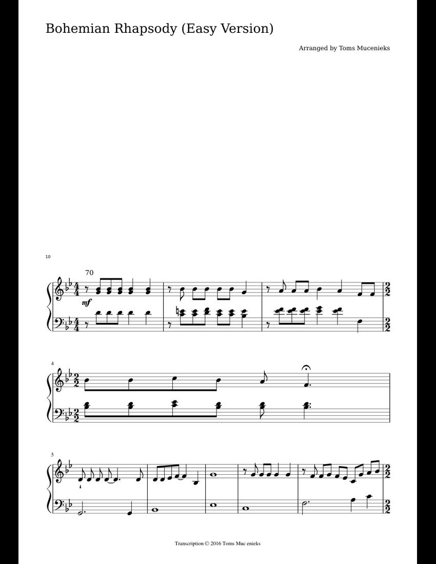 bohemian rhapsody piano easy version pdf