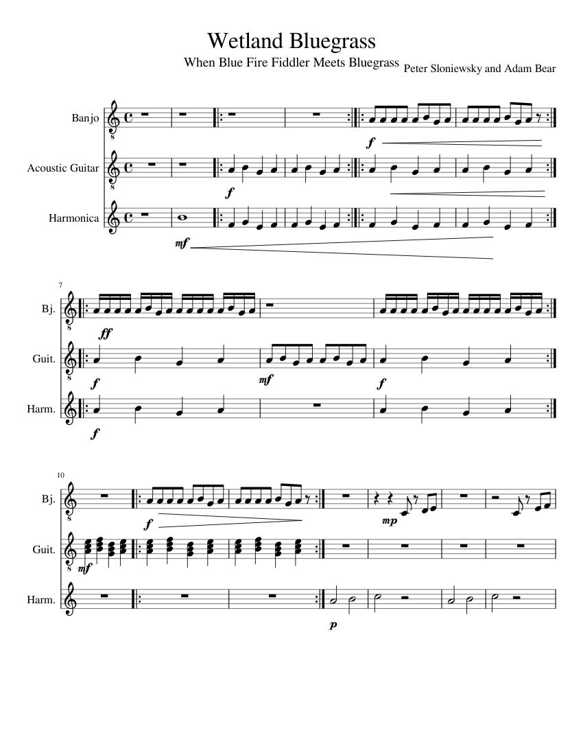Wetland Bluegrass Sheet Music For Guitar Harmonica Download