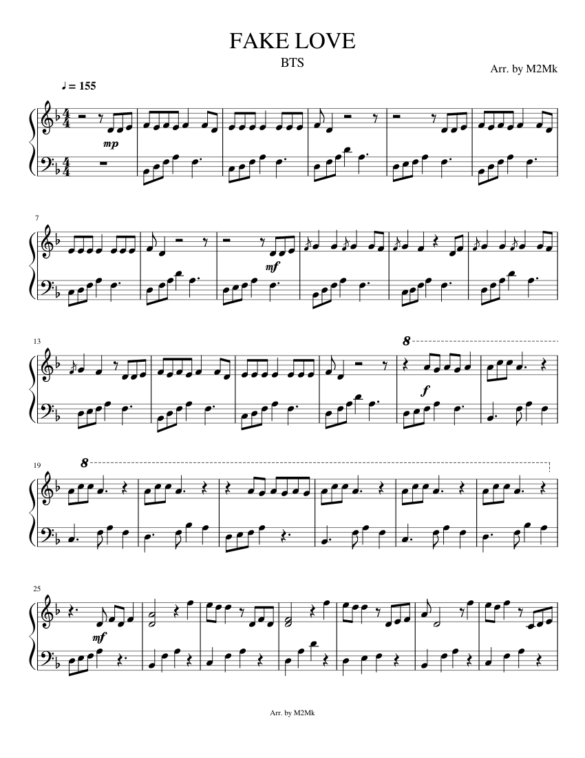 Bts 방탄소년단 Fake Love Sheet Music For Piano Download