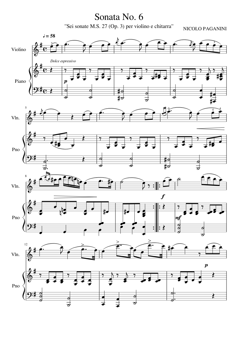 Violin Sonata No. 6 - Piano Score