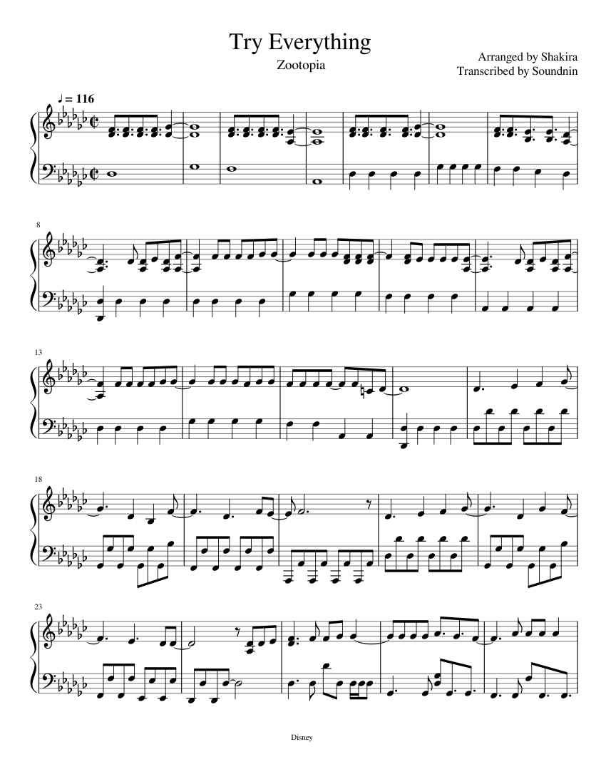 photo relating to Free Printable Disney Sheet Music called Test Every thing w/o Vocals sheet new music for Piano obtain