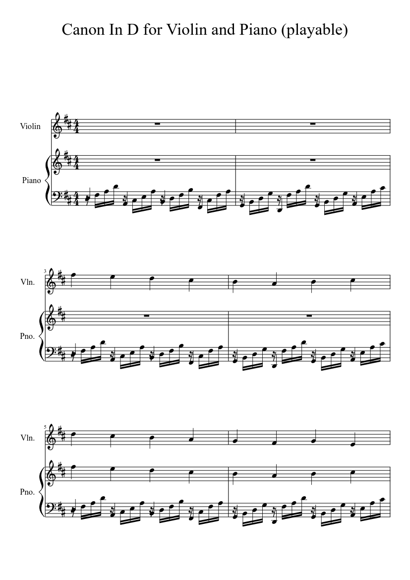 photo about Canon in D Piano Sheet Music Free Printable named Canon Within D for Violin and Piano (playable) sheet tunes for