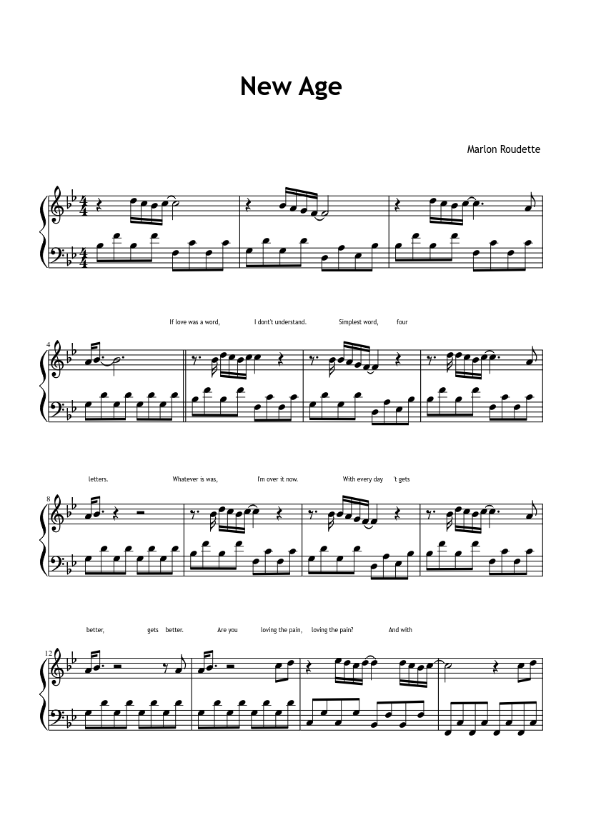 marlon roudette new age piano sheet