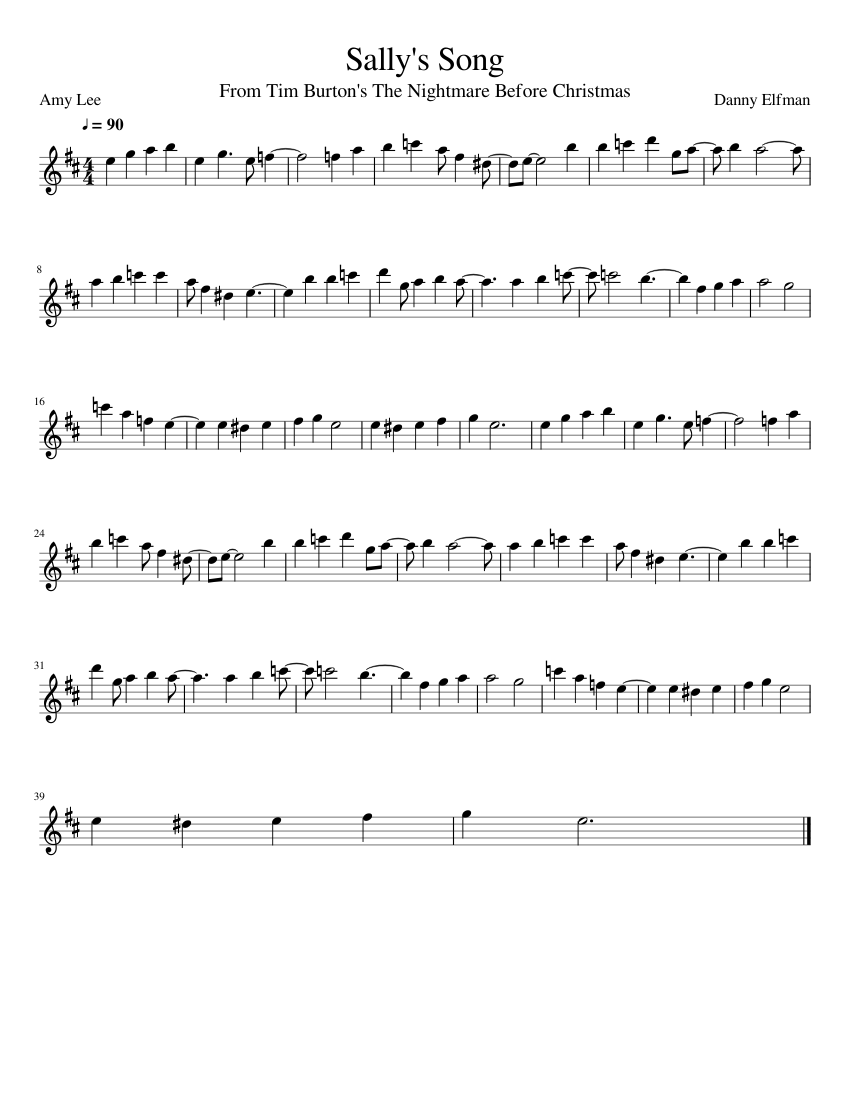 Sally\'s Song sheet music for Flute download free in PDF or MIDI