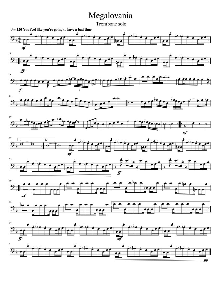 Megalovania - Trombone Solo sheet music for Trombone