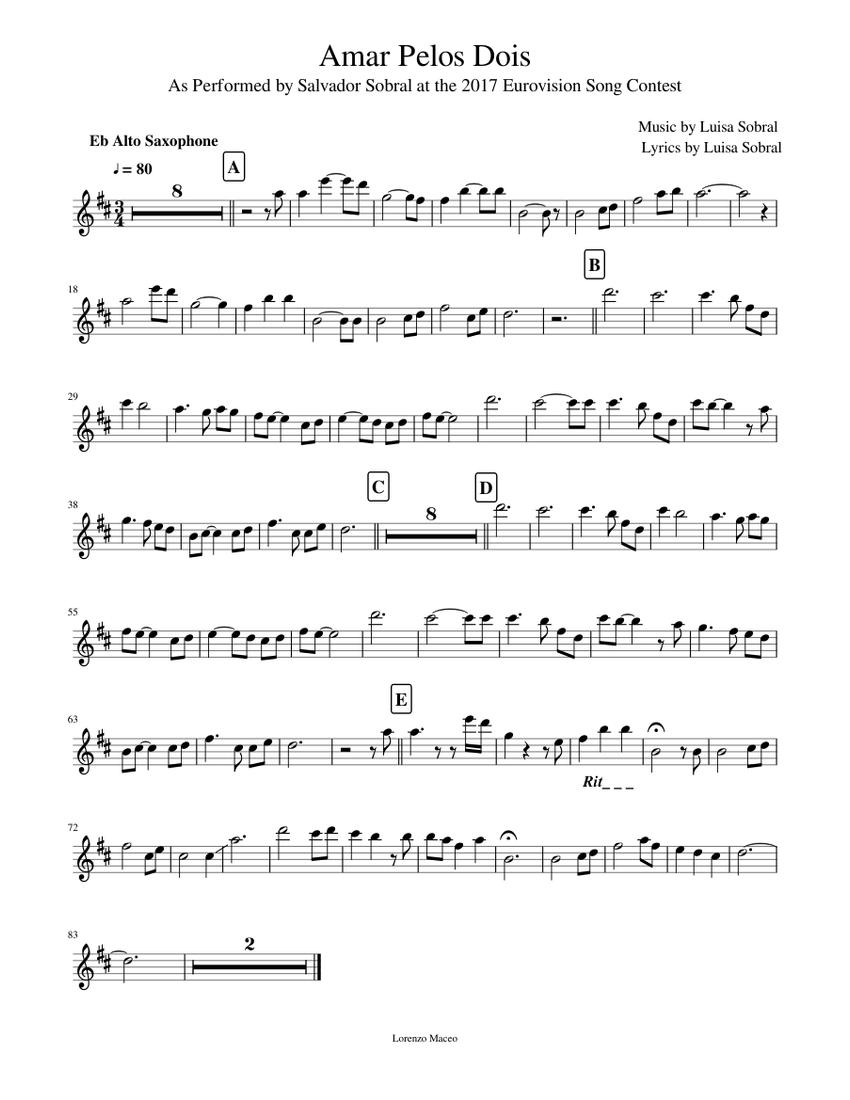 Amar Pelos Dois Alto Saxophone Piano Tutorial