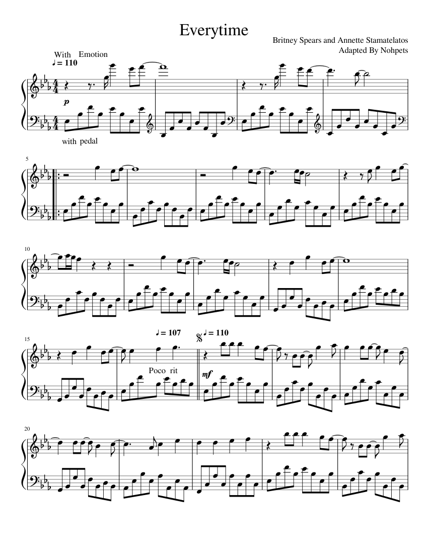 Everytime Britney Spears Sheet Music For Piano Solo Musescore Com