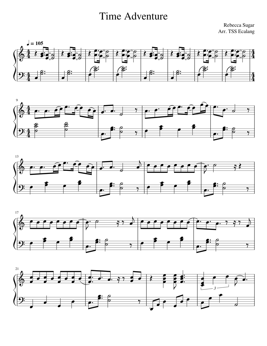 Time Adventure (Adventure Time Finale) Sheet music for Piano  Download free in PDF or MIDI