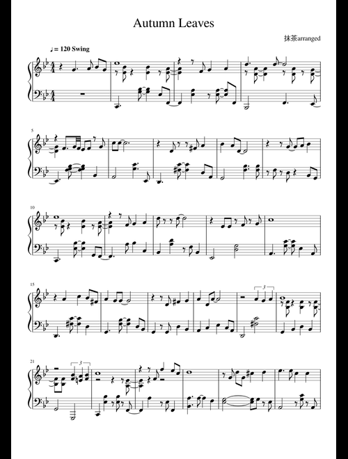 Autumn Leaves Jazz Piano sheet music for Piano download free