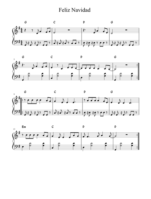 feliz navidad sheet music musescore com feliz navidad sheet music musescore com