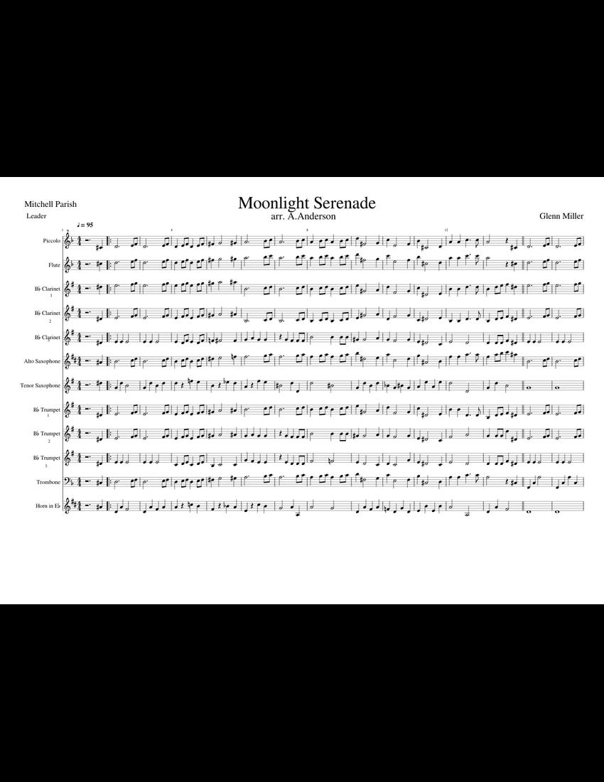 Moonlight Serenade sheet music for Flute, Clarinet