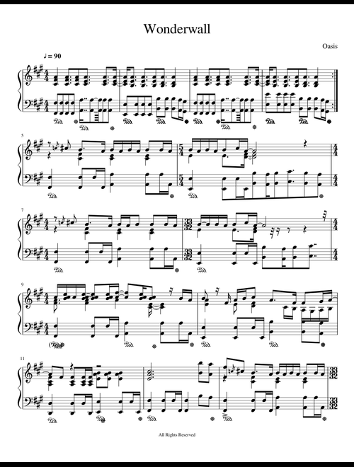 Wonderwall (Piano) sheet music for Piano download free in
