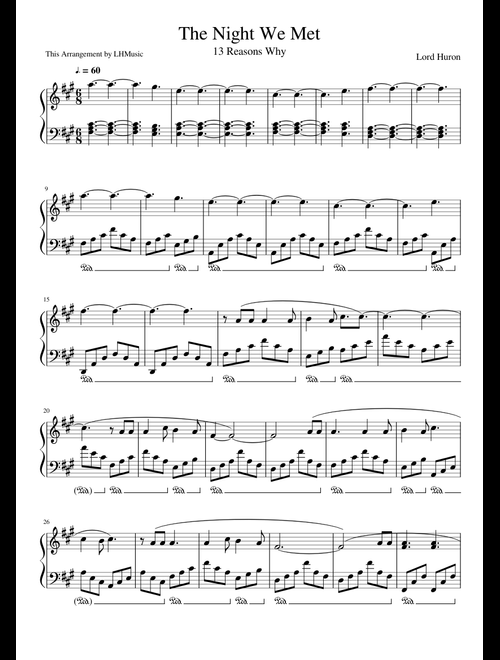 The Night We Met sheet music for Piano download free in PDF
