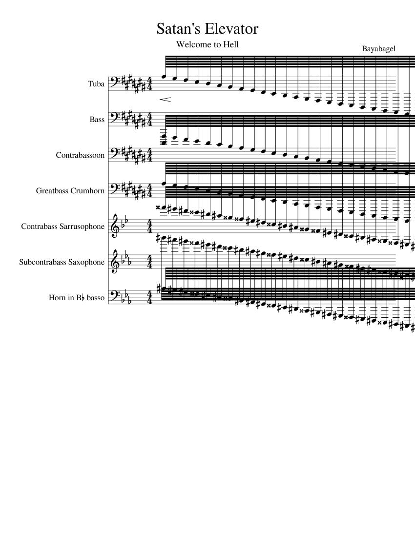 Satan's Elevator sheet music for Tuba, Voice, Bassoon