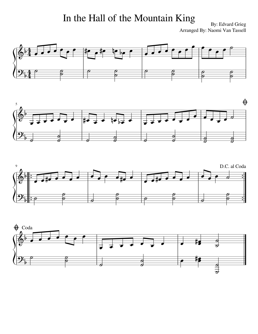 In the Hall of the Mountain King Sheet music for Piano | Download free in PDF or MIDI ...