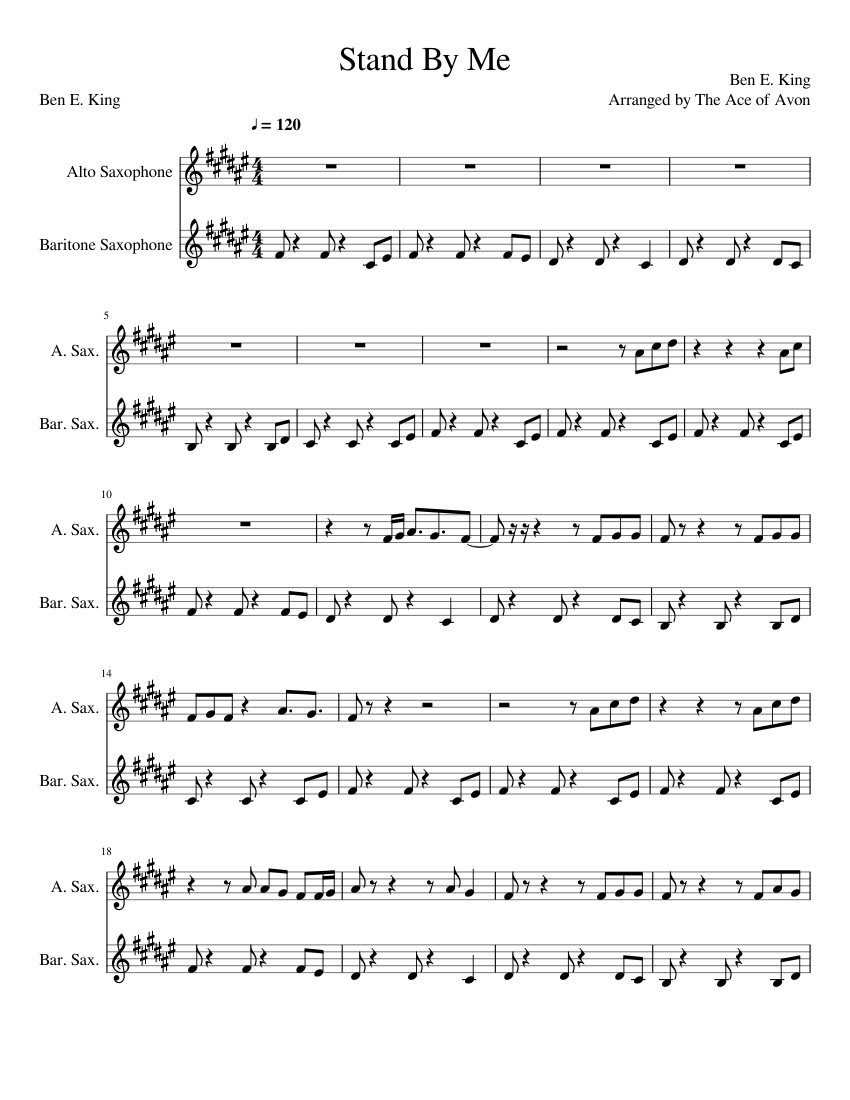 Stand By Me Sax Duet Sheet Music For Alto Saxophone Baritone