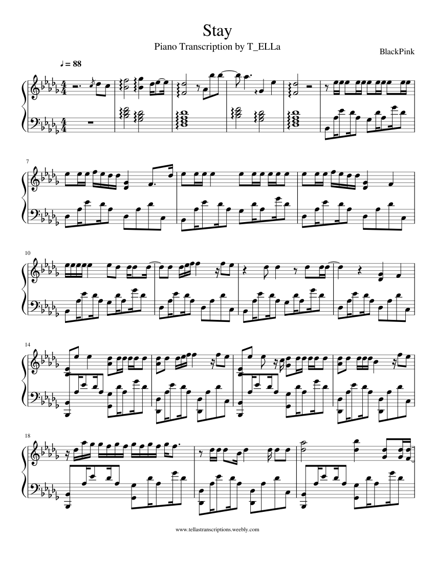 Stay sheet music for Piano download free in PDF or MIDI